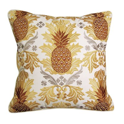Pineapple Embroidered Indoor Outdoor Throw Pillow