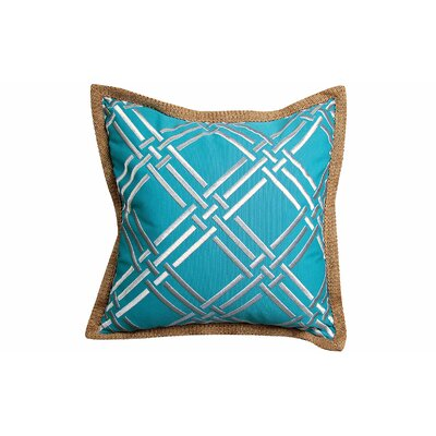 Basket Weave Modern Embroidered Throw Pillow Color: Turquoise/Silver