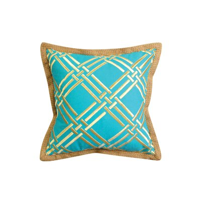 Basket Weave Modern Embroidered Throw Pillow Color: Turquoise/Gold