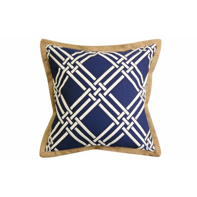 Basket Weave Modern Embroidered Throw Pillow Color: Navy/White