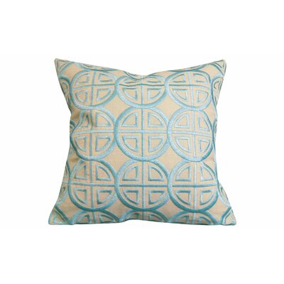 Modern Embroidered Medallion Throw Pillow Color: Beige/Blue