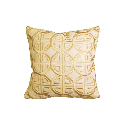 Modern Embroidered Medallion Throw Pillow Color: Beige/Gold