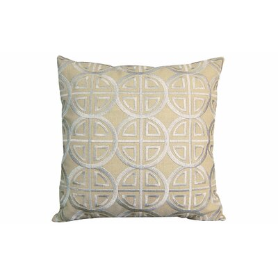 Modern Embroidered Medallion Throw Pillow Color: Beige/Silver