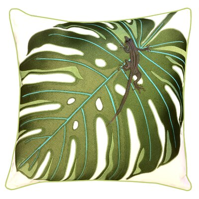 I Sea Life Coastal Monstera Palm and Lizard Outdoor Sunbrella Throw Pillow