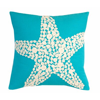 I Sea Life Knotted Rope Starfish Linen Throw Pillow Color: Turquoise