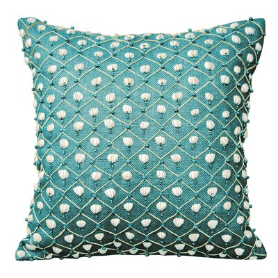I Sea Life Beaded Seashell Throw Pillow Color: Turquoise
