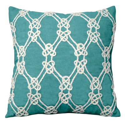 I Sea Life Nautical Rope Patterned Throw Pillow Color: Turquoise