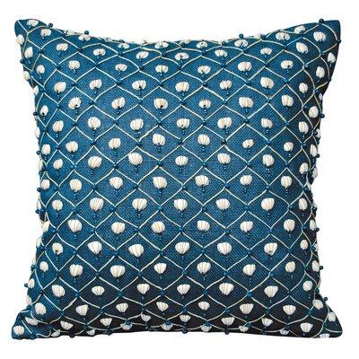 I Sea Life Beaded Seashell Throw Pillow Color: Navy