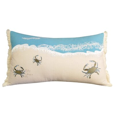 Crab and Waves Coastal 100% Cotton Lumbar Pillow