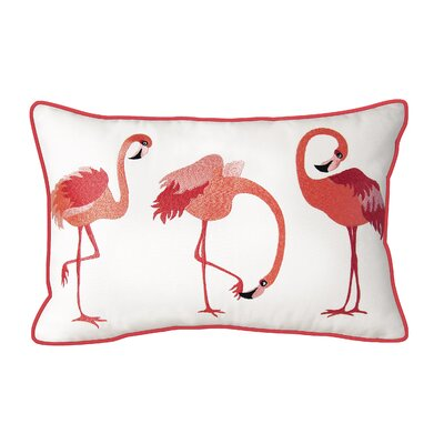 Jodi Flamingos Embroidered Outdoor Pillow
