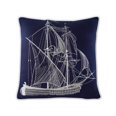 Caton Tall Ship Nautical and Navy Outdoor Pillow