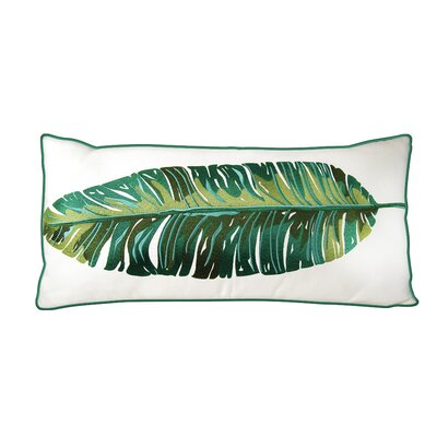 Drucilla Banana Leaf Palm Embroidered Outdoor Throw Pillow