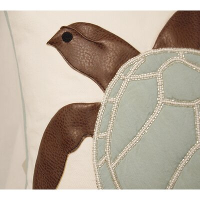 Yunior Sea Turtle Appliqu� and Beaded Throw Pillow
