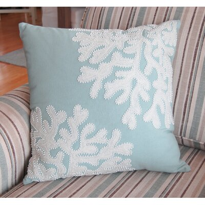 Seymour Beaded and Crewel Embroidered Coral Pillow-Sea Foam