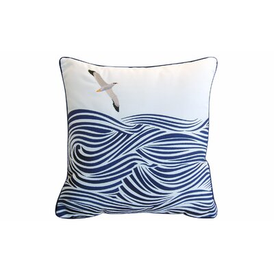 Betton Albatross and Waves Indoor/Outdoor Embroidered Throw Pillow