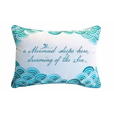 Bruss Mermaid Embroidered Outdoor Throw Pillow