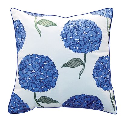 Chidester Hydrangea Embroidered Indoor/Outdoor Throw Pillow