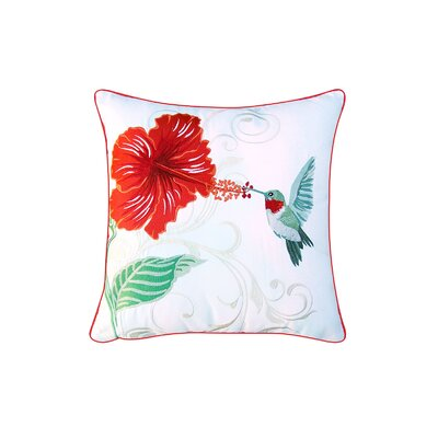 Velasquez Hummingbird and Hibiscus Indoor/Outdoor Throw Pillow