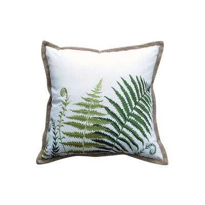 Manes Ferns Embroidered Toss Linen Throw Pillow