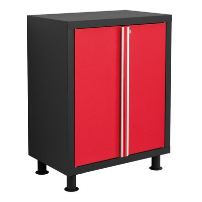 Bold Series Base Cabinet Color: Red with Black Trim 35202