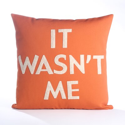House Rules It Wasnt Me Throw Pillow Color: Pumpkin Canvas / Oatmeal