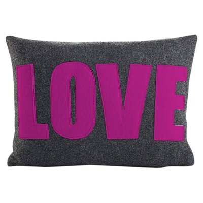 Love Throw Pillow Size: 10 H x 14 W, Color: Charcoal & Fuchsia Felt