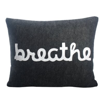 Zen Master Breathe Lumbar Pillow Color: Charcoal / White Felt