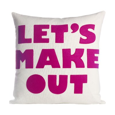 It Start With A Kiss Lets Make Out Throw Pillow Size: 16 H x 16 W, Color: Cream & Fuchsia Felt