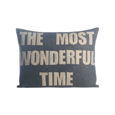 The Most Wonderful Time Felt Lumbar Pillow Color: Heather Grey / Oatmeal