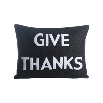 Give Thanks Lumbar Pillow Color: Charcoal / White