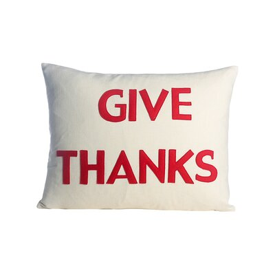 Give Thanks Lumbar Pillow Color: Cream / Red