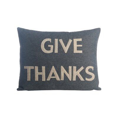 Give Thanks Lumbar Pillow Color: Heather Grey / Oatmeal