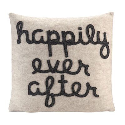 It Starts With A Kiss Happily Ever After Throw Pillow Size: 22 H x 22 W, Color: Oatmeal & Charcoal Felt