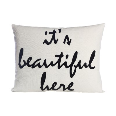 Celebrate Everyday Its Beautiful Here Throw Pillow Color: Black Canvas / Antique White