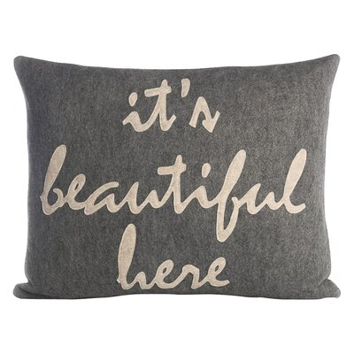 Celebrate Everyday Its Beautiful Here Throw Pillow Color: Heather Gray / Oatmeal