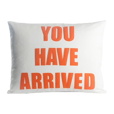 Zen Master You Have Arrived Throw Pillow Color: Cream Canvas / Orange