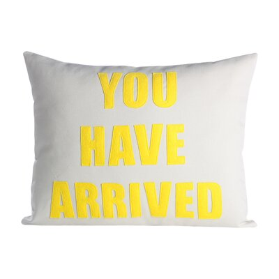 Zen Master You Have Arrived Throw Pillow Color: Stone Canvas / Yellow