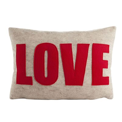 Love Throw Pillow Size: 10 H x 14 W, Color: Oatmeal & Red Felt