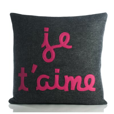 It Start With A Kiss Je TAime Throw Pillow Color: Charcoal / Fuchsia Felt