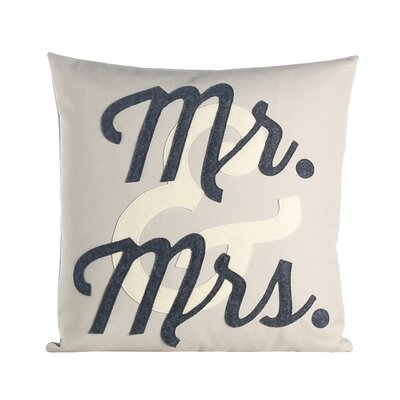 Flirt Mr and Mrs Throw Pillow Color: Stone / Antique White / Charcoal