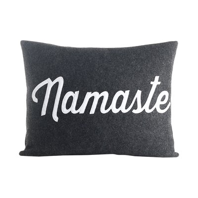 Mantras Namaste Throw Pillow Color: Charcoal / White