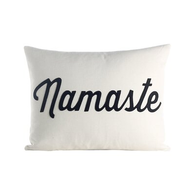 Mantras Namaste Throw Pillow Color: Cream / Black