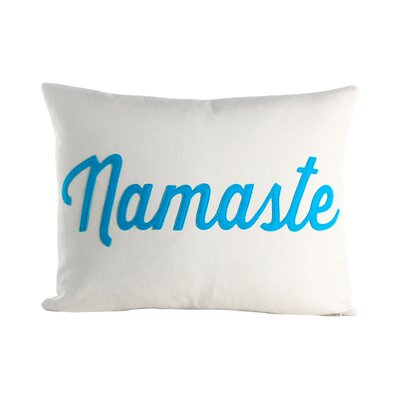 Mantras Namaste Throw Pillow Color: Cream / Turquoise