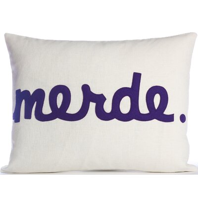 Modern Lexicon Throw Pillow Color: Cream / Purple Felt