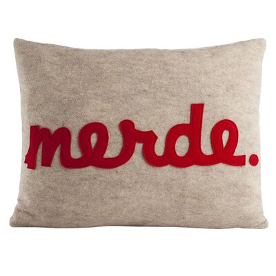 Modern Lexicon Throw Pillow Color: Oatmeal / Red Felt