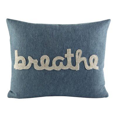 Zen Master Breathe Lumbar Pillow Color: Denim / Oatmeal Felt