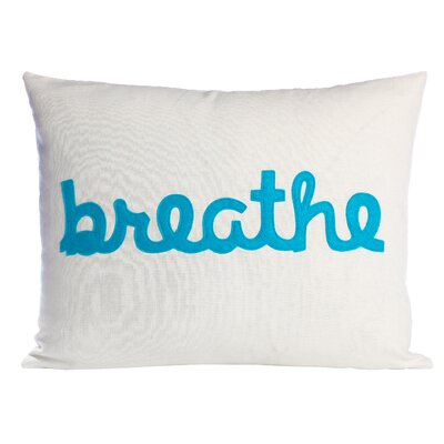 Zen Master Breathe Lumbar Pillow Color: Cream / Turquoise Felt