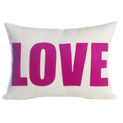 Love Throw Pillow Size: 10 H x 14 W, Color: Stone / Red