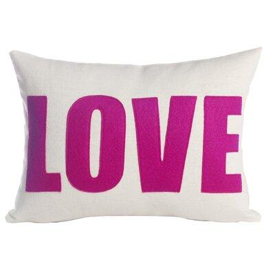 Love Throw Pillow Size: 10 H x 14 W, Color: Cream & Fuchsia Felt