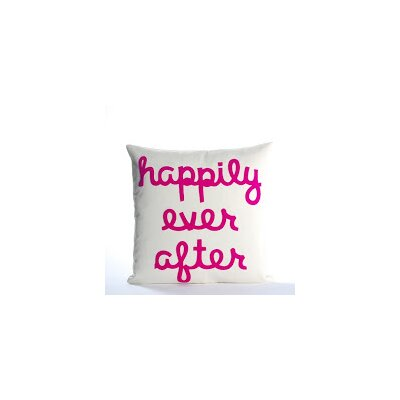 It Starts With A Kiss Happily Ever After Throw Pillow Size: 22 H x 22 W, Color: Cream & Fuchsia